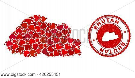 Mosaic Bhutan Map Formed With Red Love Hearts, And Rubber Stamp. Vector Lovely Round Red Rubber Seal