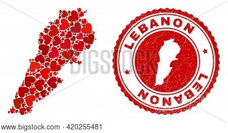 Mosaic Lebanon Map Formed With Red Love Hearts, And Unclean Seal. Vector Lovely Round Red Rubber Bad