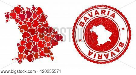 Collage Bavaria Land Map Formed From Red Love Hearts, And Grunge Seal Stamp. Vector Lovely Round Red