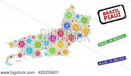 Vector Contagious Collage Piaui State Map, And Grunge Made In Brasil Badges. Vector Colored Piaui St