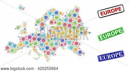 Vector Covid-2019 Mosaic Europe Map, And Grunge Europe Seal Stamps. Vector Multi-colored Europe Map