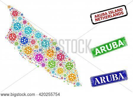 Vector Bacilla Collage Aruba Island Map, And Grunge Aruba Seals. Vector Colorful Aruba Island Map Co
