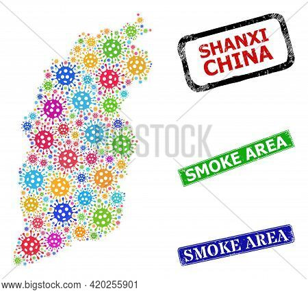 Vector Infection Mosaic Shanxi Province Map, And Grunge Smoke Area Stamps. Vector Colored Shanxi Pro