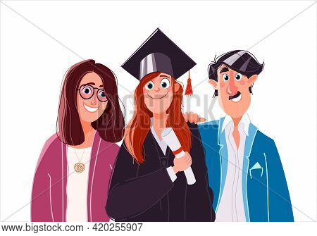 Graduation. Parents Hug The Student Who Graduated From The University, School, College. Teen Woman G