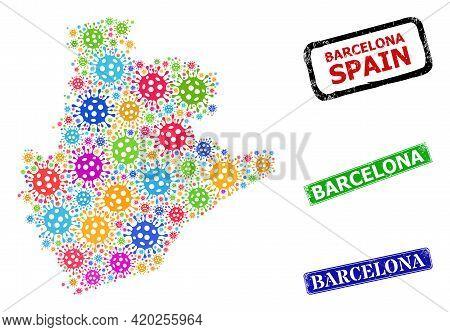 Vector Virus Collage Barcelona Province Map, And Grunge Barcelona Seals. Vector Colored Barcelona Pr