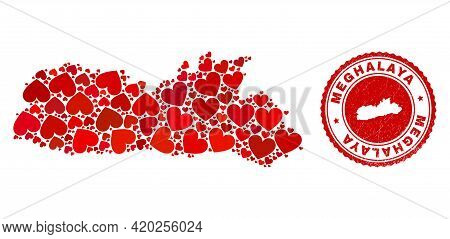 Collage Meghalaya State Map Formed With Red Love Hearts, And Corroded Seal. Vector Lovely Round Red