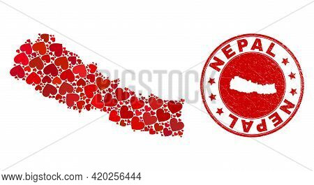 Mosaic Nepal Map Created With Red Love Hearts, And Scratched Seal. Vector Lovely Round Red Rubber Se