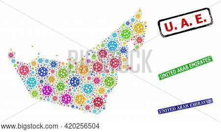 Vector Cell Collage United Arab Emirates Map, And Grunge United Arab Emirates Stamps. Vector Multi-c