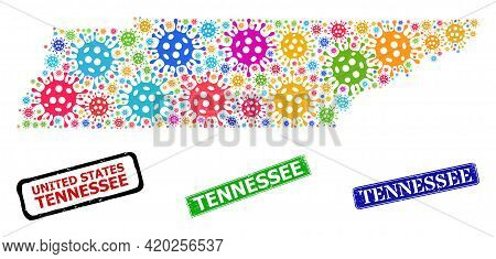 Vector Covid-2019 Collage Tennessee State Map, And Grunge Tennessee Seals. Vector Colored Tennessee