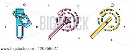 Set Bottle With Love Potion, Magic Wand And Magic Wand Icon. Vector