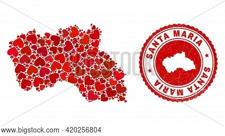 Mosaic Santa Maria Island Map Composed With Red Love Hearts, And Rubber Stamp. Vector Lovely Round R