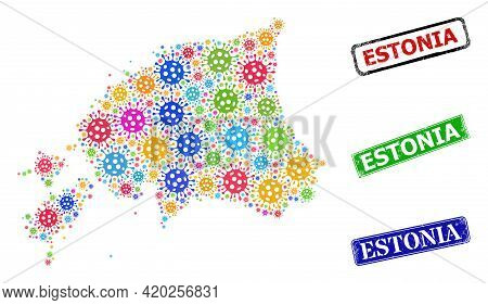 Vector Cell Collage Estonia Map, And Grunge Estonia Stamps. Vector Vibrant Estonia Map Collage, And