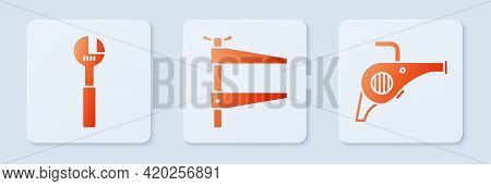 Set Clamp Tool, Adjustable Wrench And Leaf Garden Blower. White Square Button. Vector