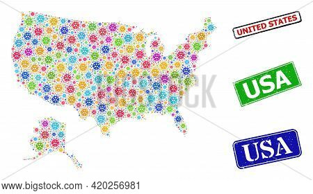 Vector Contagious Collage Usa With Alaska Map, And Grunge Usa Seal Stamps. Vector Colorful Usa With