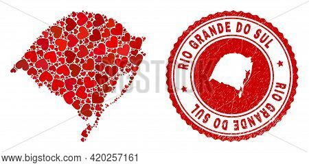 Collage Rio Grande Do Sul State Map Formed With Red Love Hearts, And Scratched Seal Stamp. Vector Lo