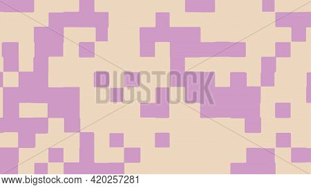 Abstract Square Pixel Background In Purple And Beige Color. Vector Illustration.