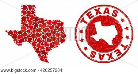 Collage Texas State Map Formed With Red Love Hearts, And Textured Seal Stamp. Vector Lovely Round Re