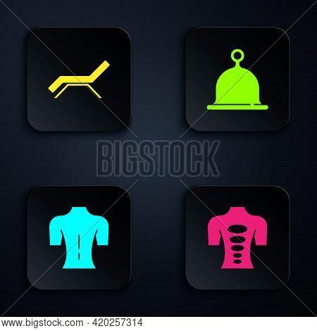 Set Massage Stone Therapy, Sunbed And Umbrella, And Sauna Hat. Black Square Button. Vector