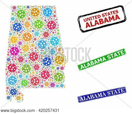 Vector Coronavirus Mosaic Alabama State Map, And Grunge Alabama State Seal Stamps. Vector Multi-colo