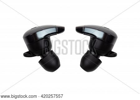 Wireless Headphones On A White Background. Headset Close Up On A White Background.