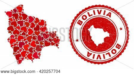 Mosaic Bolivia Map Formed With Red Love Hearts, And Rubber Badge. Vector Lovely Round Red Rubber Sea