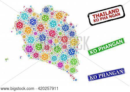 Vector Viral Collage Ko Pha Ngan Map, And Grunge Ko Phangan Seals. Vector Colored Ko Pha Ngan Map Co