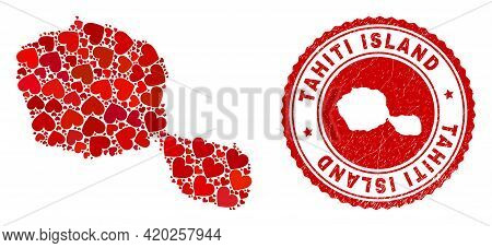 Mosaic Tahiti Island Map Designed With Red Love Hearts, And Grunge Seal Stamp. Vector Lovely Round R