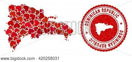 Mosaic Dominican Republic Map Formed With Red Love Hearts, And Textured Seal Stamp. Vector Lovely Ro