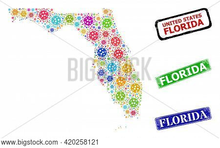 Vector Covid-2019 Mosaic Florida State Map, And Grunge Florida Badges. Vector Colorful Florida State