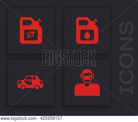 Set Face In Protective Mask, Bio Fuel Canister, Canister For Gasoline And Car Icon. Vector