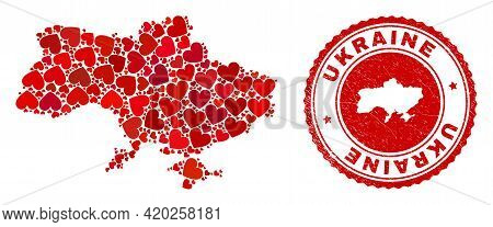 Collage Ukraine Map Designed With Red Love Hearts, And Corroded Seal Stamp. Vector Lovely Round Red