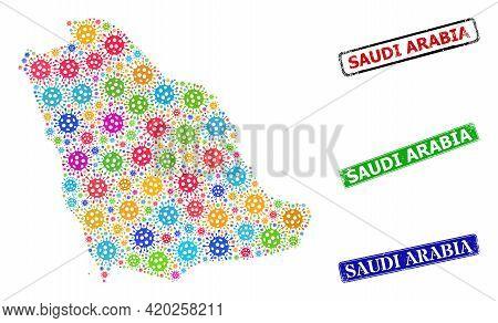 Vector Bacterium Mosaic Saudi Arabia Map, And Grunge Saudi Arabia Stamps. Vector Multi-colored Saudi
