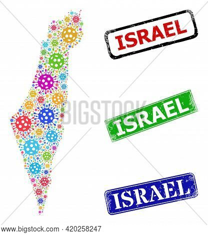 Vector Virulent Mosaic Israel Map, And Grunge Israel Seal Stamps. Vector Multi-colored Israel Map Mo