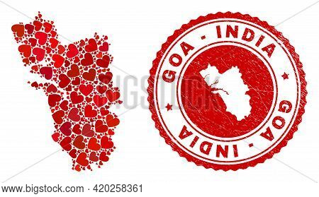 Mosaic Goa State Map Composed With Red Love Hearts, And Scratched Seal Stamp. Vector Lovely Round Re