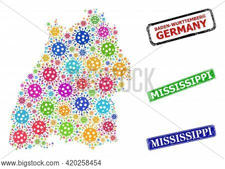 Vector Viral Mosaic Baden-wurttemberg Land Map, And Grunge Mississippi Seals. Vector Colored Baden-w