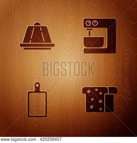 Set Bread Toast, Pudding Custard, Cutting Board And Electric Mixer On Wooden Background. Vector
