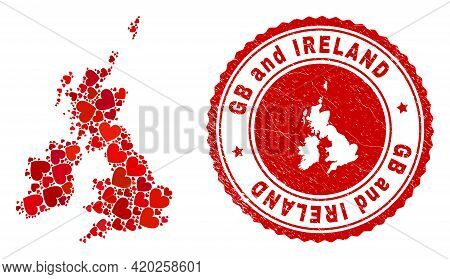 Collage Great Britain And Ireland Map Designed With Red Love Hearts, And Dirty Seal. Vector Lovely R