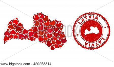 Collage Latvia Map Created With Red Love Hearts, And Scratched Seal Stamp. Vector Lovely Round Red R