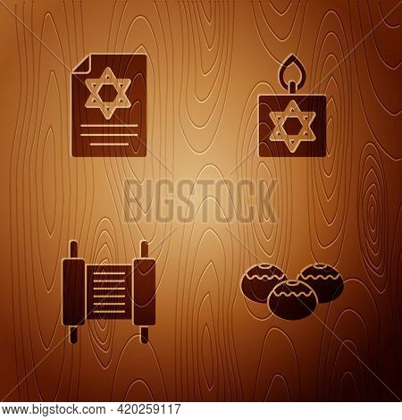 Set Jewish Sweet Bakery, Torah Scroll, And Burning Candle On Wooden Background. Vector