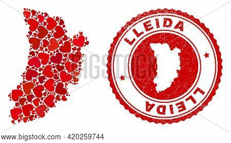 Mosaic Lleida Province Map Composed With Red Love Hearts, And Textured Seal. Vector Lovely Round Red