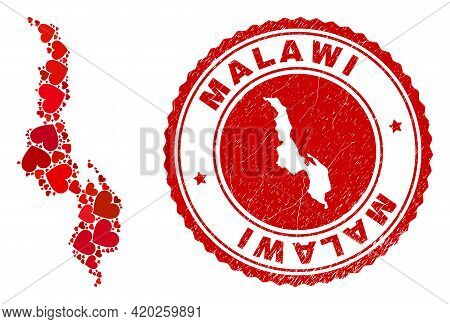 Mosaic Malawi Map Created With Red Love Hearts, And Corroded Seal Stamp. Vector Lovely Round Red Rub