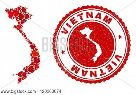 Collage Vietnam Map Designed With Red Love Hearts, And Textured Seal Stamp. Vector Lovely Round Red