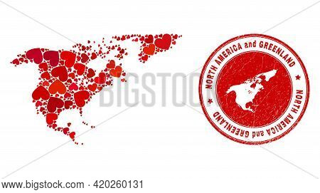 Collage North America And Greenland Map Created From Red Love Hearts, And Rubber Seal Stamp. Vector