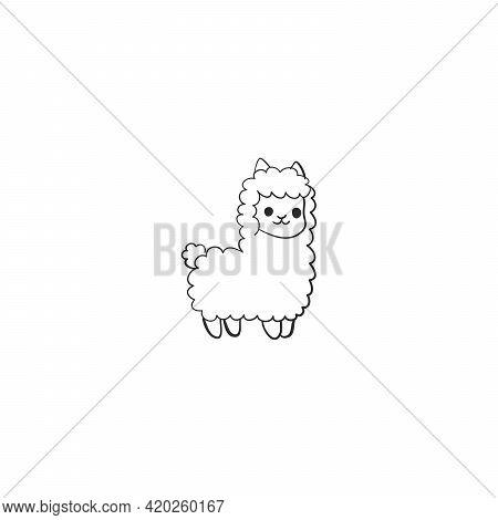 Vector Isolated Cute Cartoon Lama Alpaca Contour Line Drawing. Colorless Black And White Lapa Alpaca