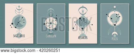 Abstract Art With Zodiac Celestial Sign And Constellation. Sagittarius Archer, Capricornus Goat, Aqu