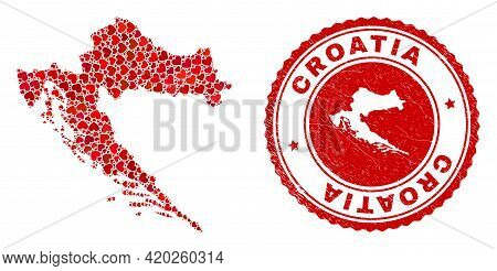 Collage Croatia Map Created With Red Love Hearts, And Rubber Seal. Vector Lovely Round Red Rubber Se