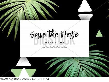 Modern Floral Wedding Invitation With Royal Palm Leaves And Textured Triangles. Exotic Hawaiian Vect