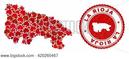 Collage La Rioja Of Spain Map Formed From Red Love Hearts, And Textured Badge. Vector Lovely Round R