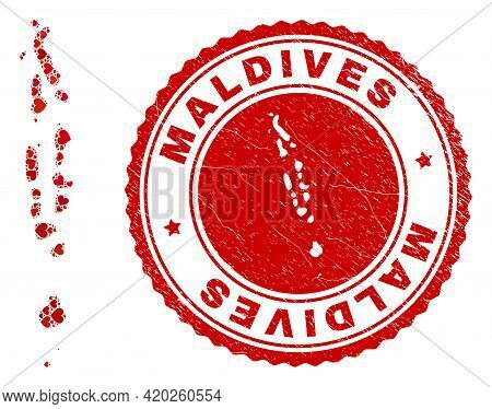 Mosaic Maldives Map Designed With Red Love Hearts, And Scratched Stamp. Vector Lovely Round Red Rubb