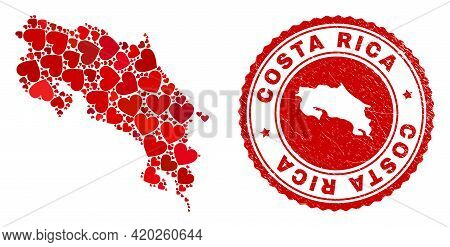 Mosaic Costa Rica Map Formed With Red Love Hearts, And Rubber Seal Stamp. Vector Lovely Round Red Ru